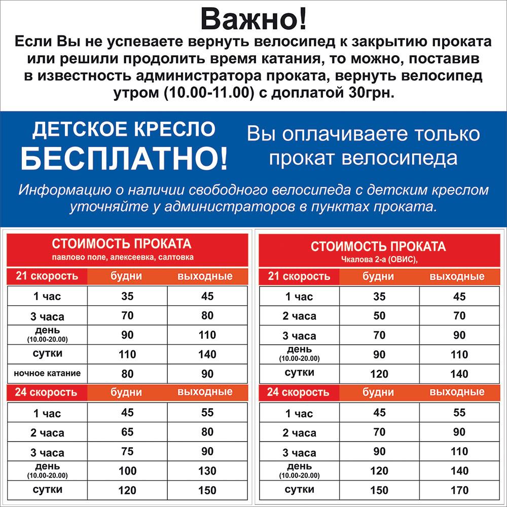 Стоимость проката велосипедов в Харькове